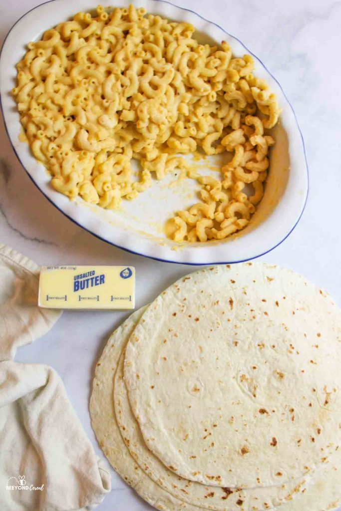 ingredients needed for mac and cheese quesadillas