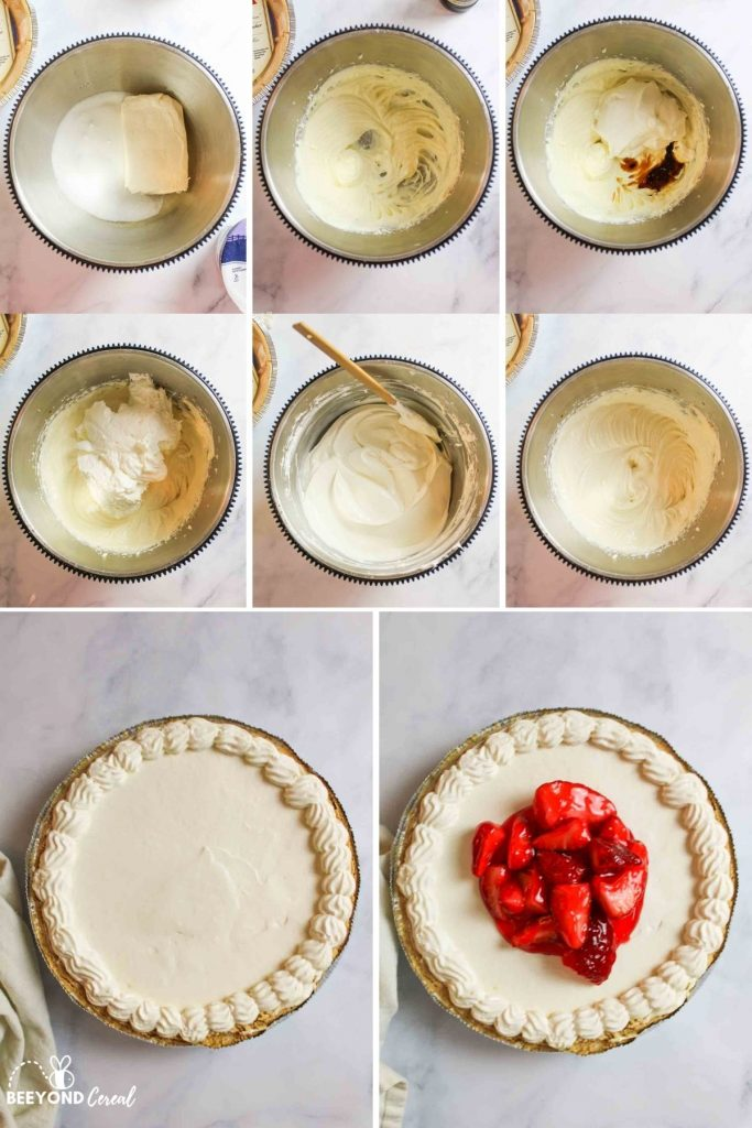 a collage showing how to make no bake cheesecake with cool whip