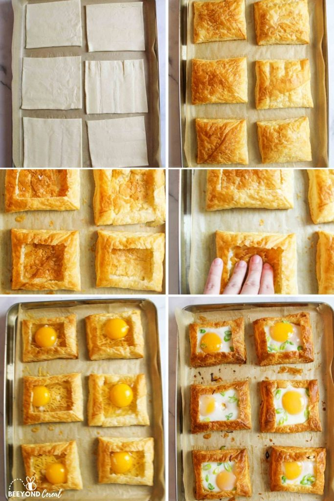 a collage showing how to make a puff pastry egg tart