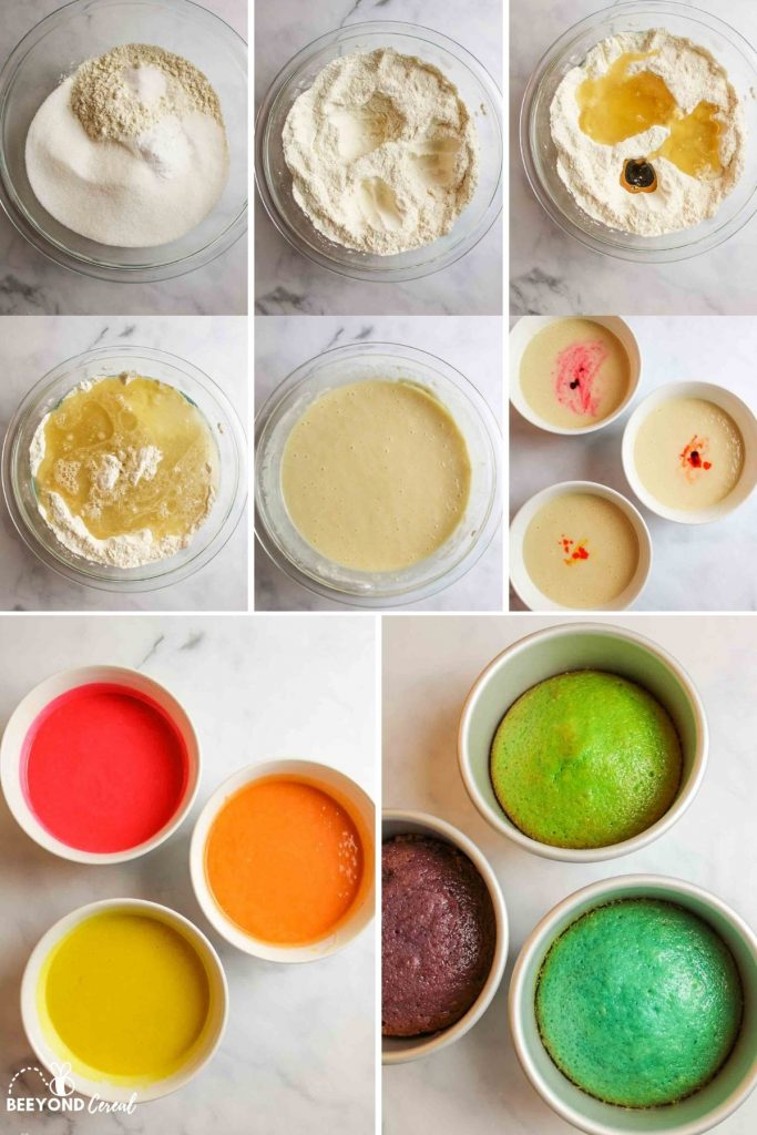 a collage showing the steps for prepping the batter and baking the cake tins
