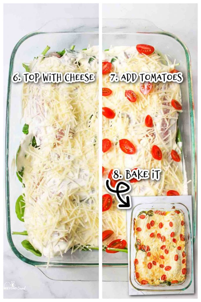steps 6, 7, and 8 for makeing tilapia. top with cheese, add tomatoes and bake.