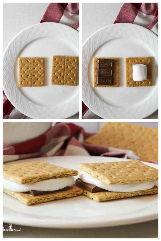 a collage showing the three necessary steps needed to make smores in the microwave