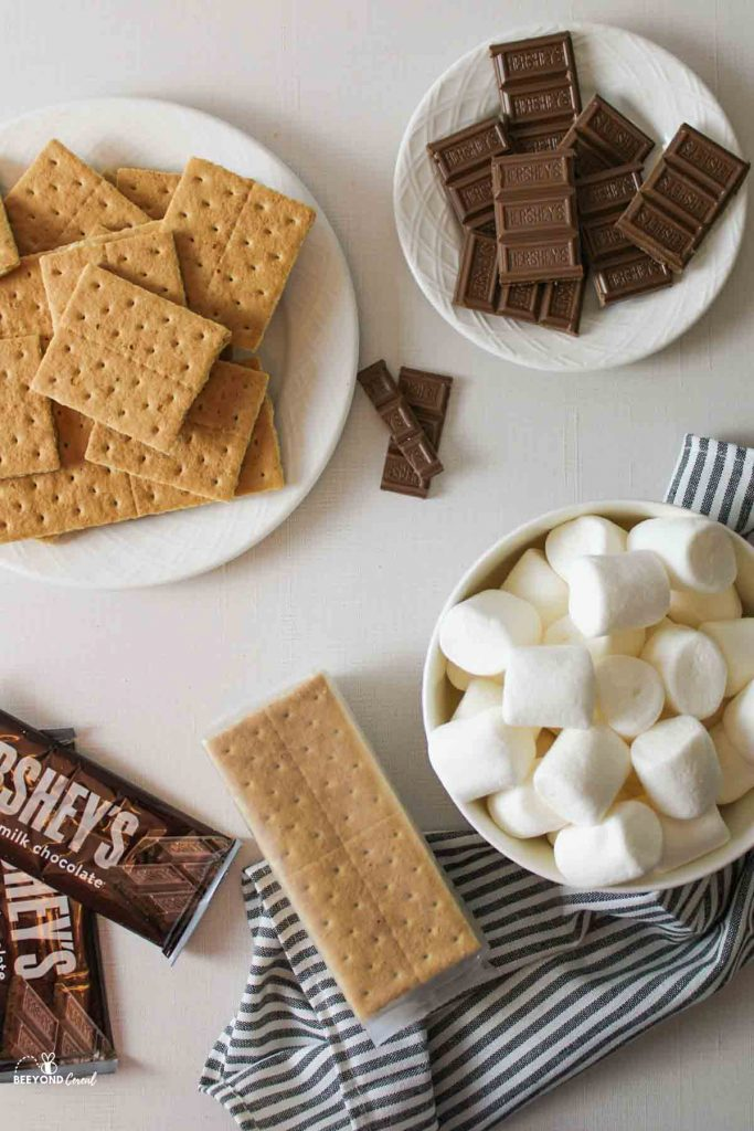 aerial view of ingredients needed to make smores