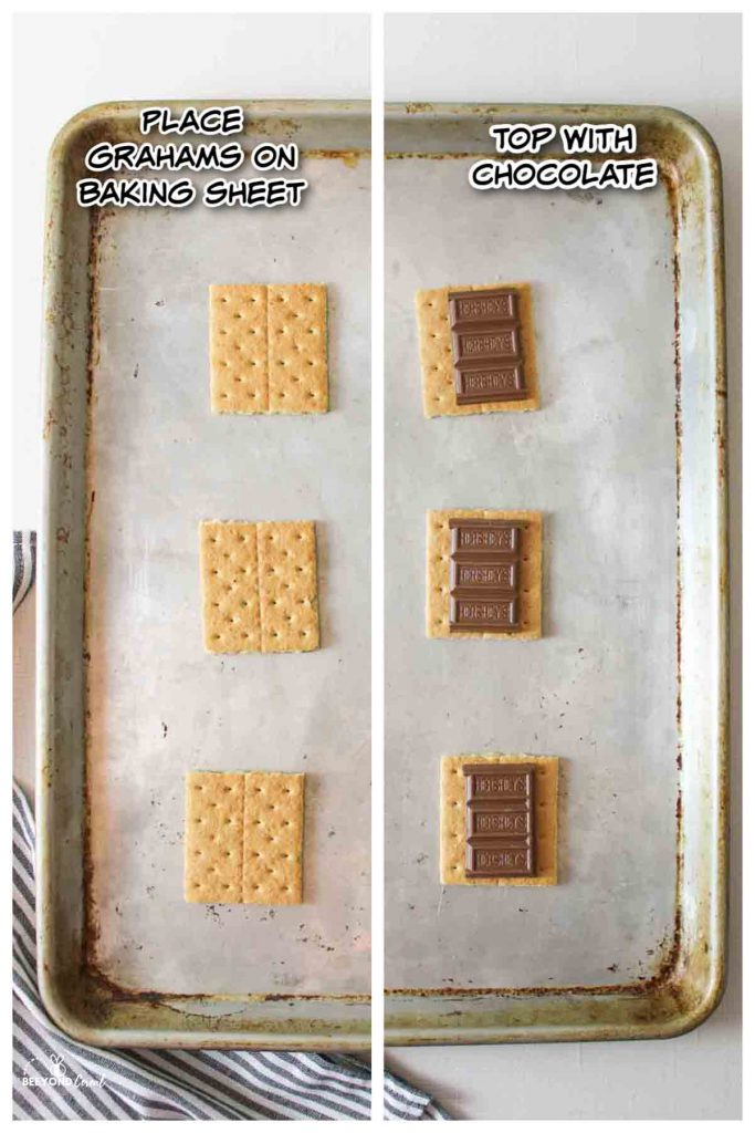 illustrated steos for making broiled smores, placing graham crackers on baking sheet and topping each with chocolate pieces