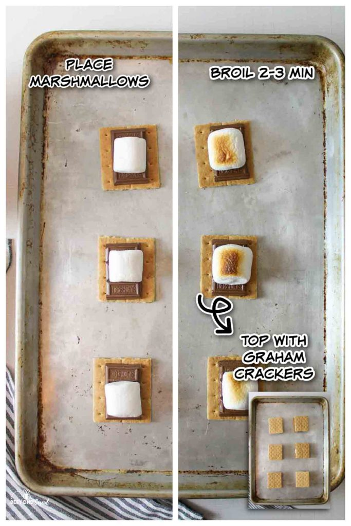 illustrated steps for making broiled smores. place marshmallows on baking sheet, broil 2-3 minutes and top with graham cracker