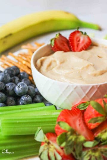 a side view of the white bowl filled with fruit dip and fresh fruits, celery, and pretzel sticks all around it
