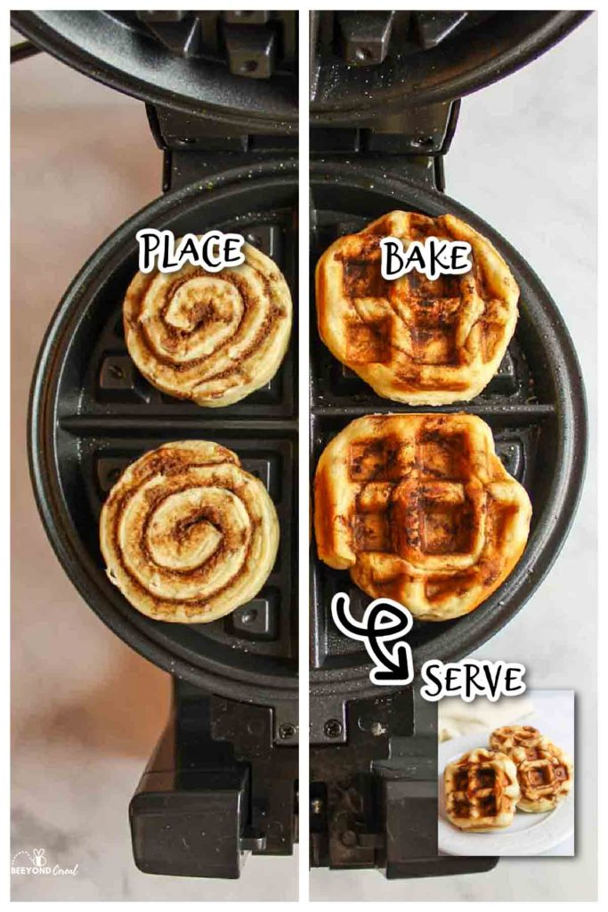 showing how to make cinnamon roll waffles by placing them in a waffle maker