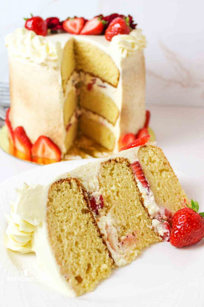 a large slice of three layer tres leches cake