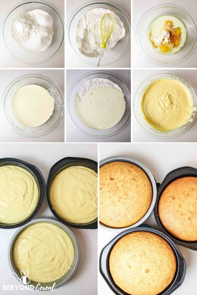a collage showing how to make the cake batter and bake it