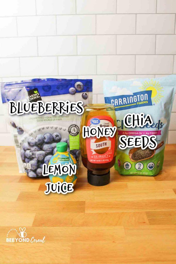 ingredients needed to make homemade sugar free blueberry jam