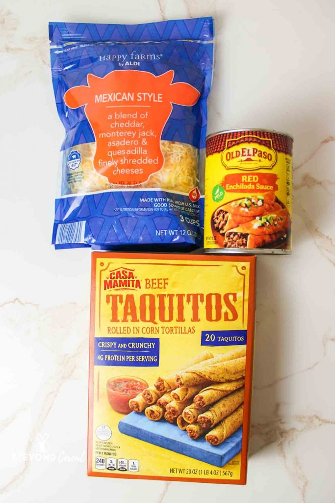 ingredients needed for lazy enchiladas a can of sauce some cheese and box of taquitos