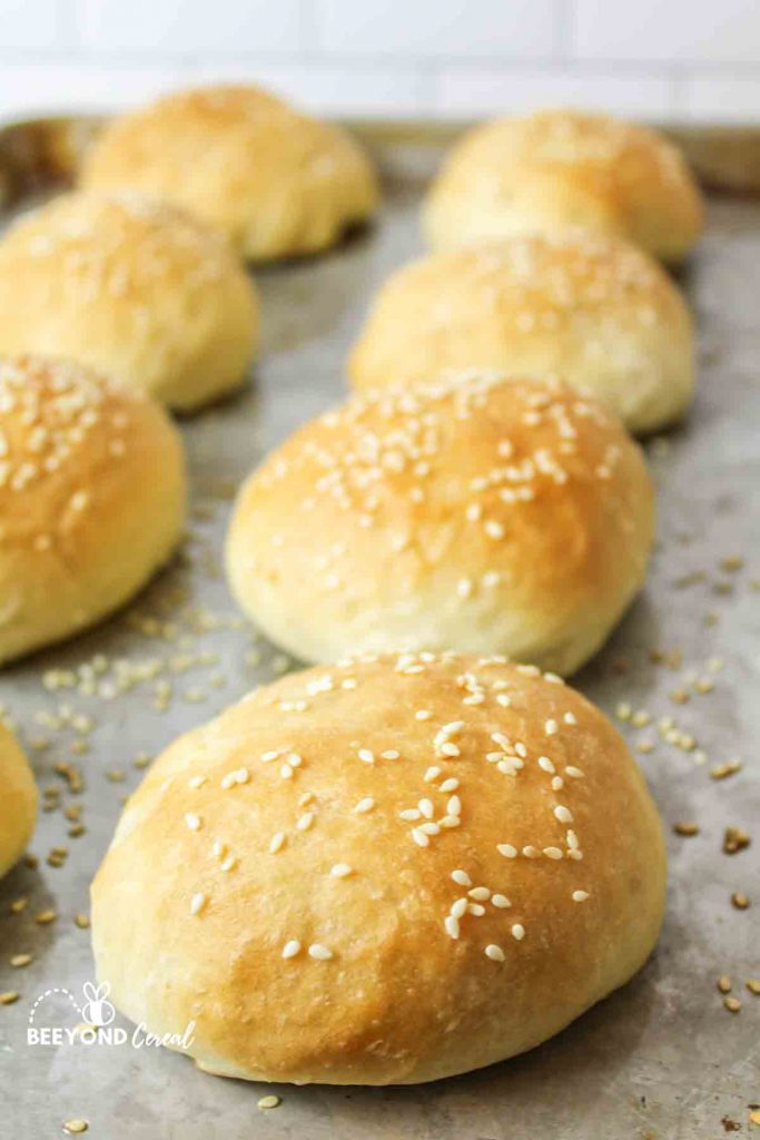 burger buns topped with sesame seeds on a baking sheet