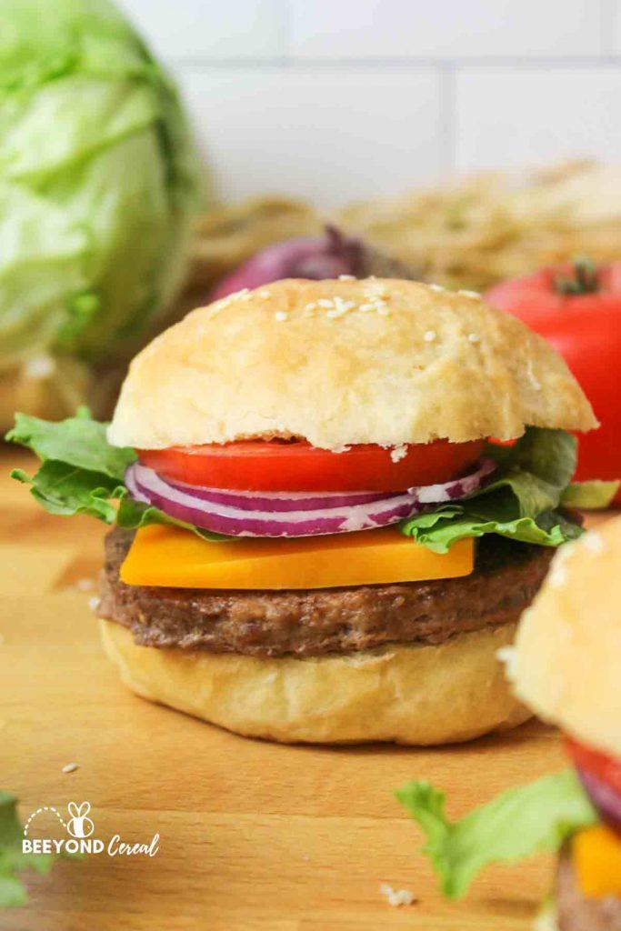 a hamburger with homemade buns