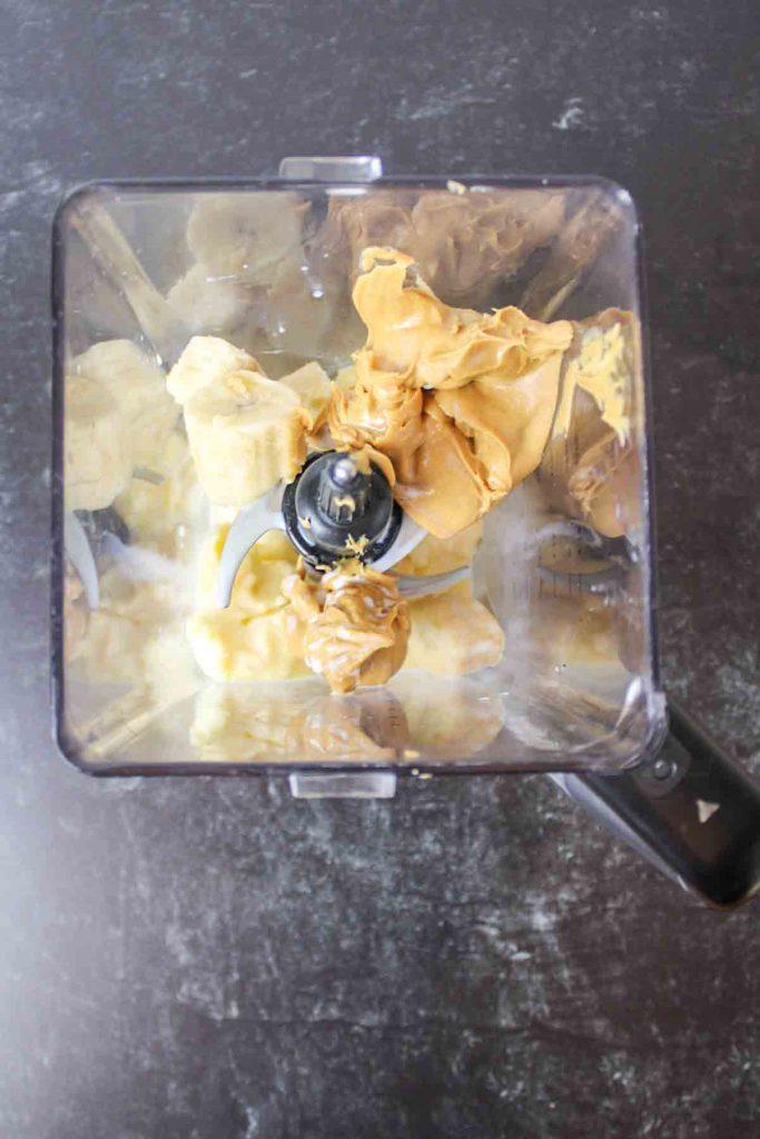 ingredients needed for zombie milkshake in a blender- aerial view