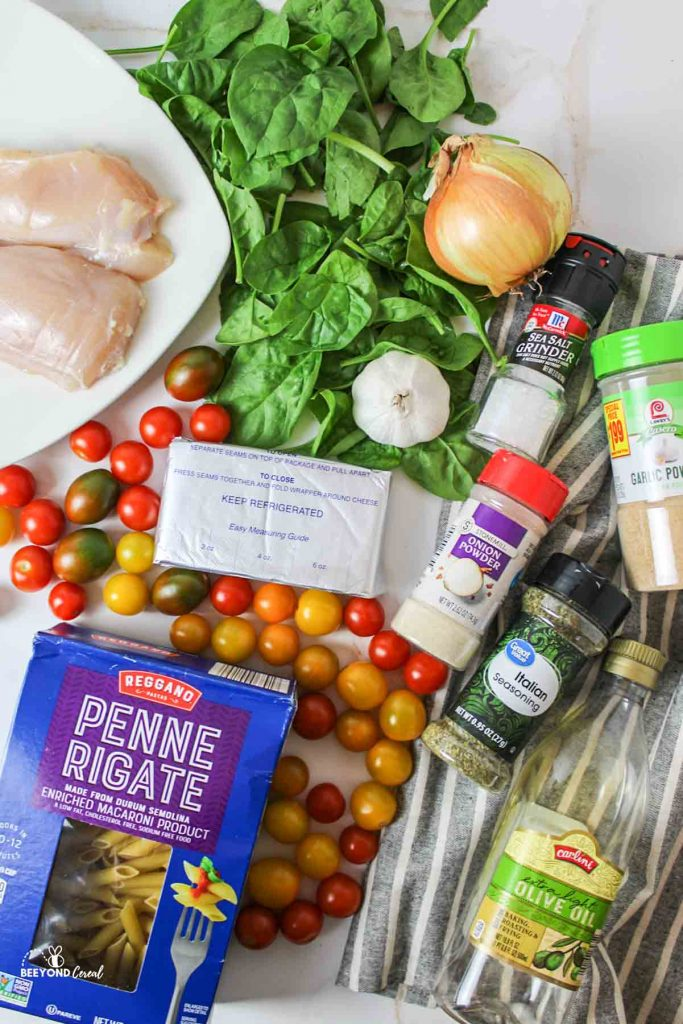 aerial view of the ingredients needed for this pasta recipe