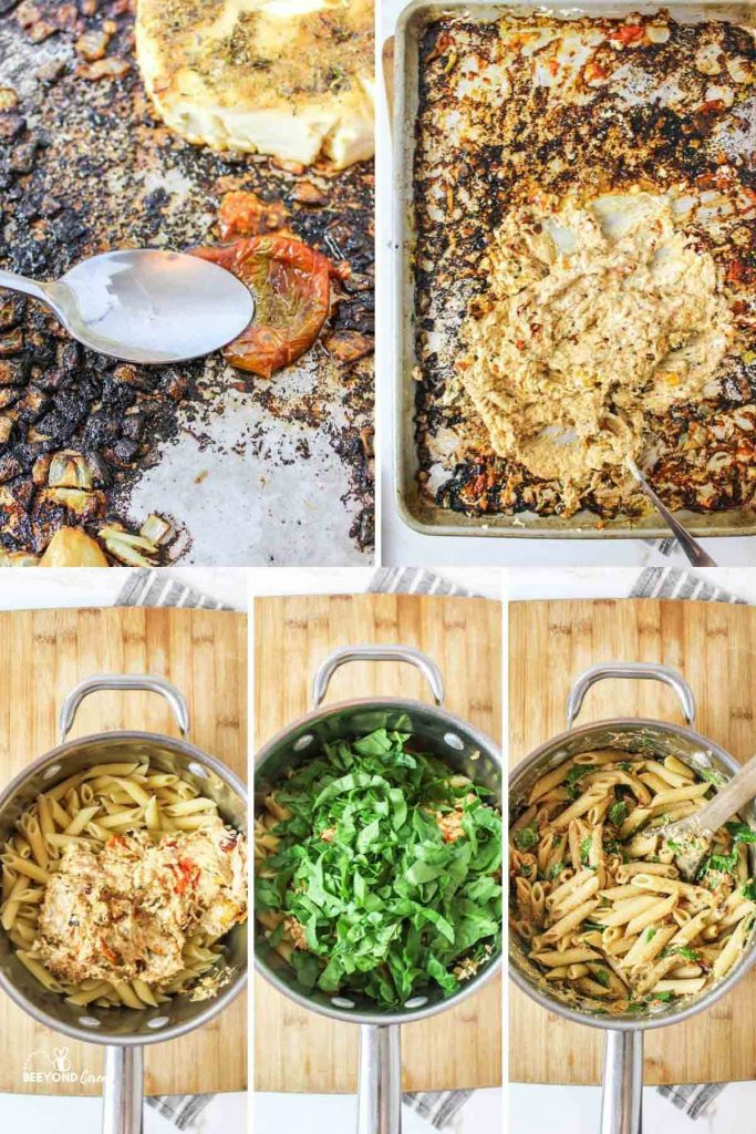 a collage showing 5 different steps for making this pasta
