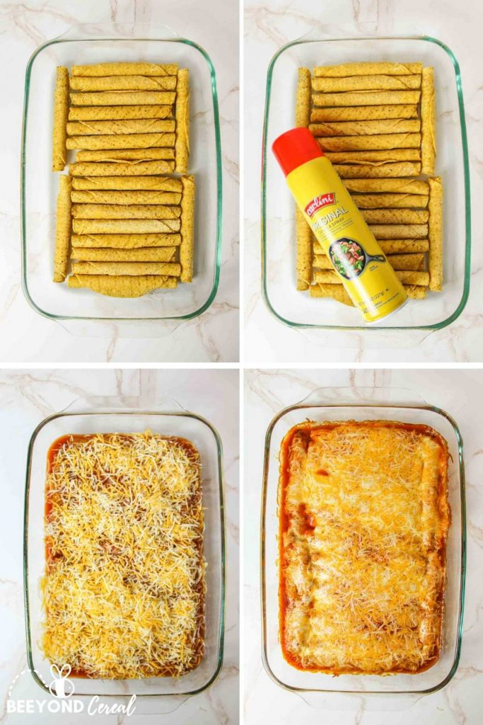 a collage showing how to make taquitos enchiladas