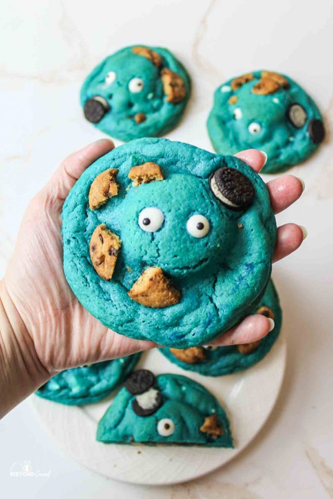 a hand holding up a large cookie nomster cookie