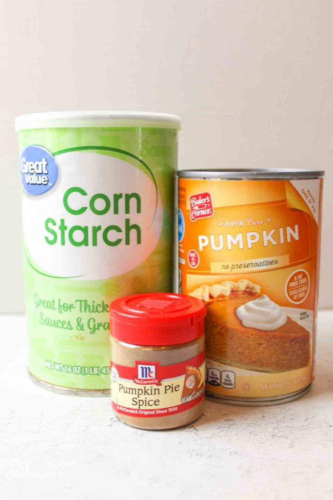 the ingredients needed to make pumpkin playdough