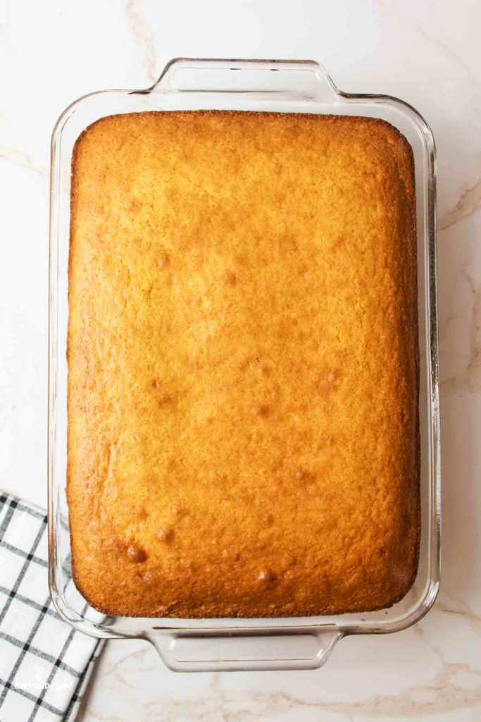 aerial view of a baking dish filled with baked cornbread