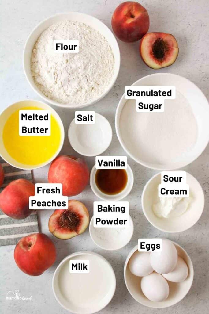 the ingredients needed to make fresh peach bundt cake