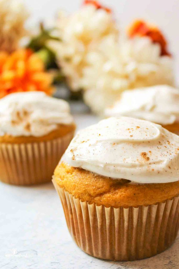 pumpkin cupcakes with cream cheese frosting and sprinkles spice on top